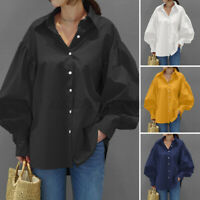 Women Long Sleeve Buttons Up Shirts Tee Oversized Blouse Tunic Lapel Formal Tops