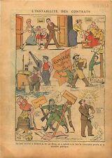 Caricature Contrats Conjugal Travail Etats Financiers France 1938 ILLUSTRATION