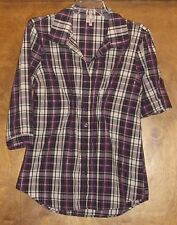 Bongo Ladies Blouse, Sz L, Roll-up Sleeves, Button-Front, Purple Plaid,CottonBld