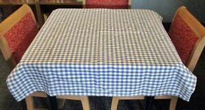 "Homemade Blue & White Checked Buffalo Plaid Tablecloth 44.5"" x 52"" Very Nice"