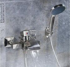 Brushed Nickel Square Waterfall Bathtub Faucet Wall Mounted Mixer W/ Hand Shower