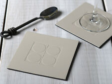 Set of 4 Cream SQUARE EMBOSSED Leatherboard COASTERS