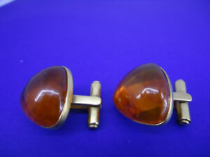 RARE 1950's! USSR Amber Stone Cufflinks, melted amber, gold plated, triangular