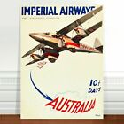 "Australia Vintage Travel Poster Art ~ CANVAS PRINT 36x24"" ~ Imperial Airways"