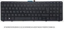 HP WORKSTATION ZBOOK 15 G1 G2 KEYBOARD UK LAYOUT BACKLIT POINTER 733688-031