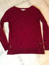 Banana Republic Womens Sweater Size XS Merino Wool Rich Red Full Side Zippers