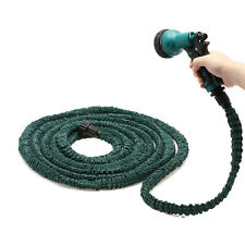 Dark Green Latex 75 Feet Expanding Flexible Garden Water Hose & Nozzle Sprayer