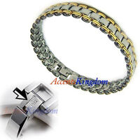 ACCENTS KINGDOM MENS STAINLESS STEEL MAGNETIC THERAPY GOLF BRACELET B