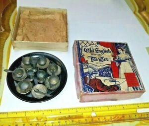 OLD DOLLHOUSE ENGLISH PEWTER TEA SET BOX 902 POT METAL PLATES CUPS SPOONS LOT