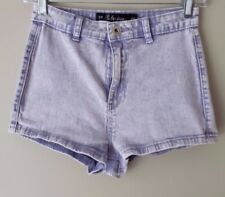 Seductions Sirens Women Denim Short Shorts Stretch Acid Wash Purple High Waist 5