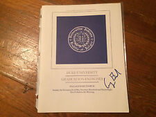 GEORGE H.W. BUSH SIGNED 1998 DUKE UNIVERSITY GRADUATION COMMENCEMENT SPEAKER