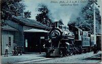 Postcard L.S. & M.S. Train Approaching Railroad Depot in Clinton Michigan~134114