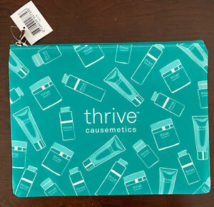 """NEW with Tag Thrive Causemetics Green MAKEUP CASE COSMETIC BAG Flat 10.5"""" x 8"""""""