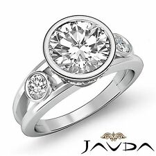 Round Brilliant Diamond Engagement 3 Stone Ring GIA F VS2 14k White Gold 1.5ct