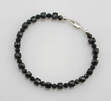 Spinell-Armband - schwarze Spinelle facettiert Edelsteinarmband für Damen 20 cm