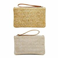 Women Beach Straw Wallet Summer Zipper Purse Card Phone Holder Handbag Case