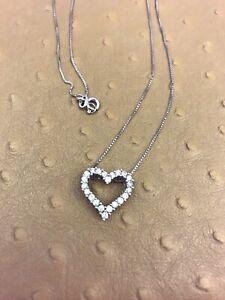 Estate 14K White Gold Diamond Heart Pendant Necklace, 18 inches