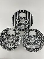 222 Fifth Halloween Skulls 3PC Appetizer Dessert Plates