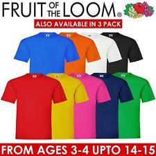 Fruit Of The Loom Children Boys Girls T Shirts Cotton Plain Short Sleeve Tee Top