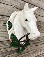 Cast Iron White Horse Head Vintage Country Towel Holder