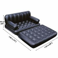 New Black Inflatable Air Couch/Bed Multi Functional 5 In 1 Lounger Portable Home