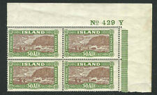 Iceland Stamps 148 Mi 118 50A Green & Brown Plate Block MNH VF 1925 SCV $960*