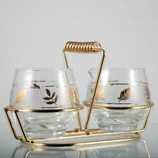 Vintage Glass Creamer and Sugar Set in Caddy Libbey Golden Foliage MCM