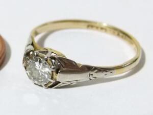 Antique 18ct Gold Plat 0.25 Points Diamond Solitaire Ring Art Deco Vintage #RBC