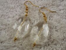 Goldtone Faceted Acrylic Bead Pierced Earrings (B44)