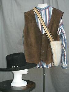 Cowboy Men's Costume Sheriff Prairie Western Deputy Shirt Vest Hat