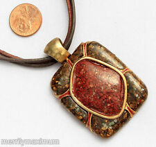 Chico's Signed Necklace Gold Tone Oblong Pendant Terracotta Red Stone Chip
