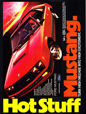 """1981 red Ford Mustang Coupe photo """"Hot Stuff"""" vintage promo print ad"""