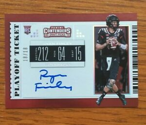 2019 Panini Contenders Ryan Finley Playoff Ticket 18/18 On Card Auto Bengals 1/1