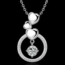"18"" Silver Swarovski Element Crystal Heart Infinity Pendant Necklace Gift Box F9"