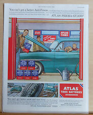 1954 magazine ad for Atlas Tires, Batteries, Accessories - Colorful scene