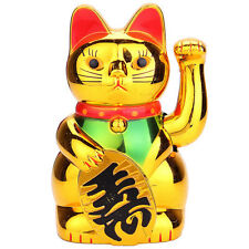 6in Chinese Lucky Waving Golden Cat Figure with Moving Arm Wealth Decoration