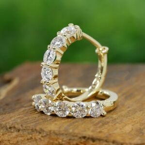 14k Yellow Gold Over 2.44 ct Diamond Round Cut Heggie Hoop Earrings