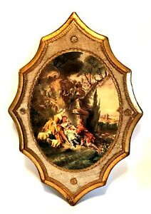 """Vintage Victorian Plaque Made in Italy Gilt Wooden Wall Art 18.5"""" Tall"""