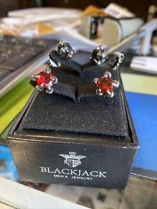 BlackJack Mens Stud Earrings Black RED claw foot Goth set Halloween 2 sets in 1