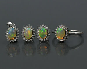Natural Ethiopian Welo Fire Opal Gemstone 925 Solid Silver Jewelry Set For Women