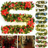 Christmas Tree Decoration 9FT 50LED Lights Pre Lit Garland Fireplace Pine Wreath
