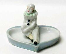 Vintage 50's Japan Lusterware Art Deco Lady Clown Pierrot Figurine Trinket Dish
