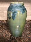 Vintage+crystalline+Vase+Signed+Blue+Green