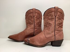 VTG WOMENS UNBRANDED SNIP TOE COWBOY SALMON PINK BOOTS SIZE 8.5 B