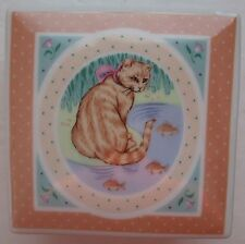 "Tabby Cat Trinket Box Ceramic 3"" Square Lid Papel Portraits & Patterns Japan"