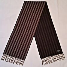 AUTHENTIC STRIPED GRAY CHARCOAL CASHMERE WOOL LONG MEN'S FRINGE SCARF