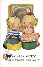Artist Signed Mabel Lucie Attwell No. 5828, Why look at T.V. when you've Got Me?