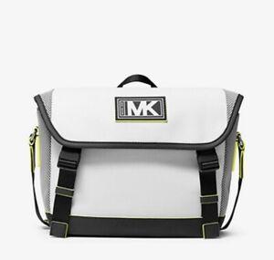Michael Kors Cooper Pebbled Leather and Mesh Bike Bag / White & Neon Yellow