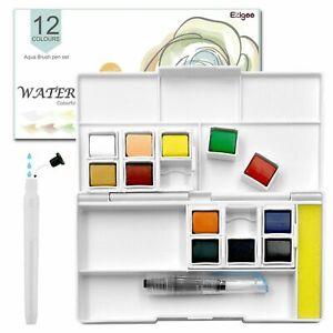 Watercolour Paint Set 12/24/38/48/58 colours Pocket-Sized Box Aqua Brush Include