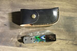 Big Damascus folder with horn and ceramic  handles  & leather sheath hand made